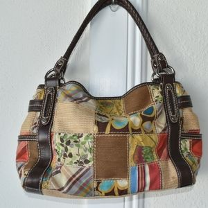 Fossil handbag patchwork tote faux leather